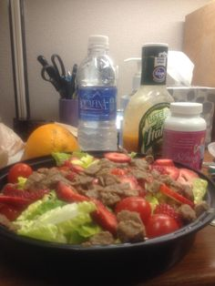 Refreshing Steak Salad  Romaine Lettuce Grape Tomatoes Sliced Strawberries Tyson Steak Strips (I cut them up into smaller pieces) Kroger Lite Zesty Italian Dressing  Want to lose weight? Skinny Fiber works order today www.ontolosing.com