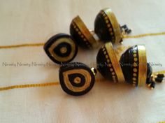 Two tiered black and gold quilled earrings,quilled jhumka earrings,paper earrings-FREE SHIPPING by NIRMITY on Etsy