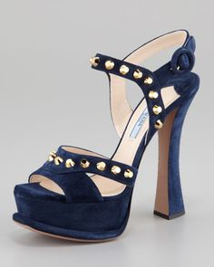 6d388ae7a7183b Studded Suede Ankle-Wrap Sandal, Navy by Prada at Neiman