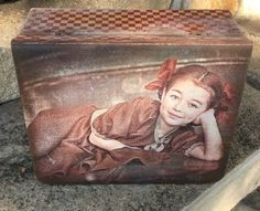 Decoupage wood box-storage. Recipe box for mom. Pencil desk-box. Girl Keepsake Box. Decorative box-storage. Decoupage cards box. Photo box