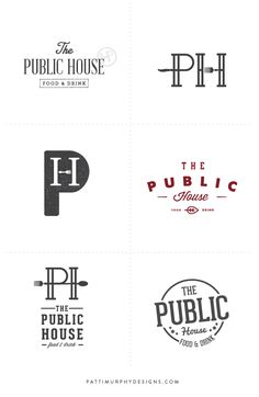 Logo Exploratory // Patti Murphy Designs branding for a restaurant, pub logo, bar and bistro logo design, masculine