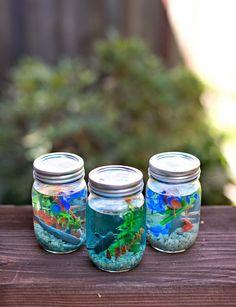 Mason Jar Aquarium Cute and Easy DIY Craft Projects for Kids by diy craft projects for kids - Kids Crafts Diy Craft Projects, Easy Diy Crafts, Cute Crafts, Creative Crafts, Fun Diy, Diy Crafts Home, Neon Crafts, Gift Crafts, Vbs Crafts