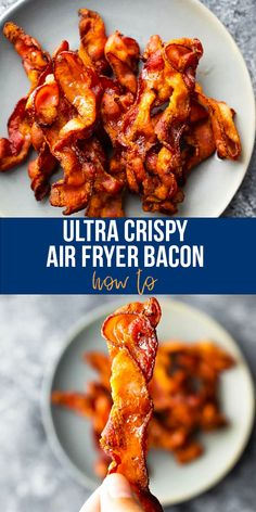 Air fryer bacon is ULTRA crispy and so easy to cook. No more bacon splatter all over your stove top makes it even easier to clean up after! #sweetpeasandsaffron #bacon #lowcarb #mealprep #airfryer #crispybacon #howto Best Lunch Recipes, Best Breakfast Recipes, Lunch Meal Prep, Meal Prep Bowls, Cooking Turkey Bacon, Slow Cooker Freezer Meals, Pancakes And Bacon, Bacon In The Oven, Spiralizer Recipes