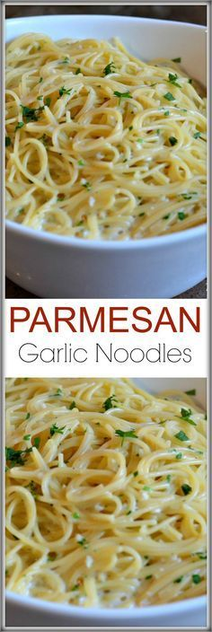 Garlic Noodles These Parmesan Garlic Noodles recipe is ready in 15 minutes and has loads of fresh garlic, butter, parsley and cheese!These Parmesan Garlic Noodles recipe is ready in 15 minutes and has loads of fresh garlic, butter, parsley and cheese! Italian Recipes, New Recipes, Vegetarian Recipes, Cooking Recipes, Favorite Recipes, Healthy Recipes, Jello Recipes, Whole30 Recipes, Recipies