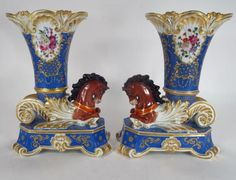 Pr. Paris Porcelain Rhyton Horse Vases