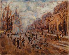 """SÉRGIO TELLES (1936). """"Jeux de Petangue au Jardin des Tulleries"""", óleo s/ tela, 65 X 80. Ass"""