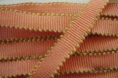 1y French Antique Vintage 1920s Woven Picot Edge Ombre Peach Melon Yellow Gold Metal Thread Ribbon Flower Trim