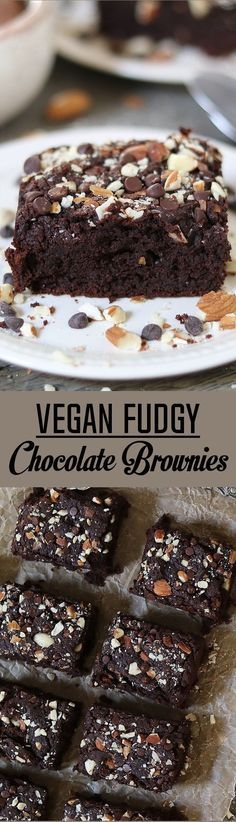 Vegan Fudgy Chocolate Brownies ~ super chocolatey, nutty & delicious. Oil-free & gluten-free. Fudgy Chocolate Brownies - http://veganhuggs.com/fudgy-chocolate-brownies/