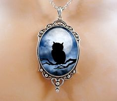 Owl Necklace Valentine Gift Jewelry - Moon Gothic Jewelry Wearable Art Gift For Her.