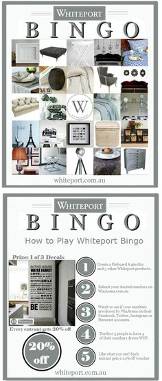 "To enter the Whiteport Bingo contest simply repin this Pin, and 5 other products from this board. When you have chosen your ""Bingo Numbers"" visit WinArena here http://winarena.com.au/contest/80/show#.UXEJAytHgbo and enter your numbers on the competition page. Each day 1 product will be published on https://www.facebook.com/winarena until the first 3 winners get their numbers. Bonus: every entrant gets a 20% off voucher from Whiteport."