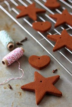 Homemade Cinnamon Ornaments. I would use these year round and hang them throughout the house for homemade air freshner.