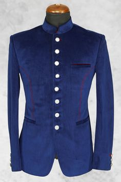 Royal #blue well dressed #italian suit with bandhgala collar-ST506