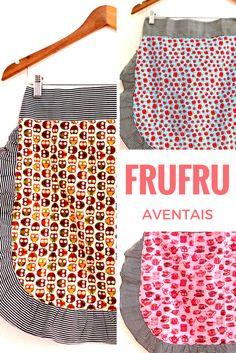I love Frufrus! :D Avental estilo saia com frufru e estampas de corujinha, frutinhas e chaleirinhas rosas. Um charme só!