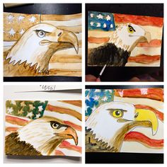 smART Class: Father's Day Coffee Painted Sepia Eagles! Nice idea if the school mascot is an eagle.