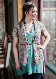 """Delicata"" lace cardigan, free crochet pattern from Berroco. Sizes up to 52"" bust."
