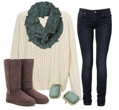 Winter Outfit the color of the scarf and earrings! so minty wonderland!