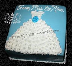 Something Blue Bridal Shower Gown Cake