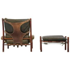 Arne Norell Easy Chair and Ottoman Model Inca 1960s, Sweden, Danish | From a unique collection of antique and modern armchairs at https://www.1stdibs.com/furniture/seating/armchairs/