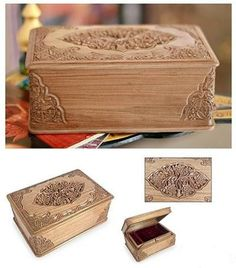 Kashmiri hand carved Blossom patterned wooden box (Chinar) Price:4,050INR