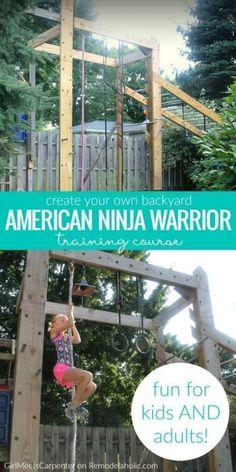 training to compete or just want to increase your fitness, you can do it in a fun way with the whole family on this DIY backyard American Ninja Warrior style training course! Details from GirlMeetsCarpenter on