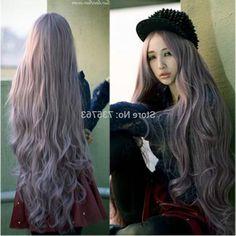 27.49$ (Watch more - https://alitems.com/g/1e8d114494b01f4c715516525dc3e8/?i=5&ulp=https%3A%2F%2Fwww.aliexpress.com%2Fitem%2F000507-new-fashion-100cm-long-curly-wave-full-hair-wigs-cosplay-lolita-party-purple-wig%2F32648749774.html) 000507 new fashion 100cm long curly wave full hair wigs cosplay lolita party purple wig