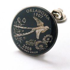 Oklahoma Tie Tack Lapel Pin Suit Flag State Coin Jewelry USA