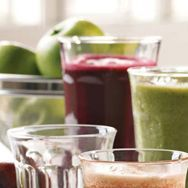 Blackberry Kiwi  Calories: 230  Protein: 5g  Fiber: 2g    1/4 large Pineapple (core removed and roughly cubed)  1 cup Blackberries  1 Kiwi Fruit  1/4 Pear  1/4 cup Coconut Water  30 Mint leaves