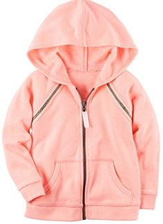44b600bab96c Girl s Neon Peach Hoodie With Sparkle Accents (Size 2t) Kids Girls Tops
