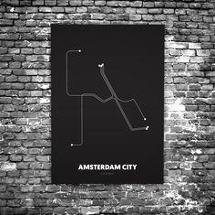 Amsterdam City C1 - Acrylic Glass Art Subway Maps (Metrokaart, Acrylglas)