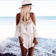 Combishort Femme Summer Loose White Short Jumpsuit Deep V-neck Spaghetti Off Shoulder Playsuit Rompers Womens Jumpsuit