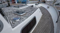 One section of teak removed and still a long way to go! #Teak #TeakRemoval #SyntheticTeak #MarineDecking #Corvette320