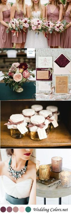 {Shades of Mauve, Blush & Turquoise} Wedding Color Inspiration (alternative wedding decorations bridesmaid bouquets) Best Wedding Colors, Wedding Color Schemes, Wedding Themes, Wedding Decorations, February Wedding Colors, Trendy Wedding, Fall Wedding, Our Wedding, Dream Wedding