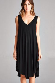 One of our most popular dresses. Our Ariana is now available in black. Super soft and flowy, and perfect for many body types. Model is wearing a small 95% rayon 5% spandex