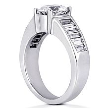 Engagement ring with Side Stones: This beautiful engagement ring is simply perfect.  It is set with approx. 0.95ct TW of G-SI side stones.  It is designed for a round center stone only which is not included in quoted price.  Diamond Deals NY