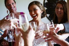 The pre-ceremony toast of bride and bridesmaids at a destination wedding at @Secrets Maroma Beach Resort & Spa in the Riviera Maya. Mexico wedding photographers Del Sol Photography.