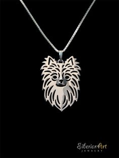 Long Haired Chihuahua - sterling silver