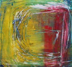 'I don't know' 60cm sq abstract  liz doyle