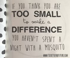 If you think you are too small to make a difference, you aren't spent a night with a mosquito ;)