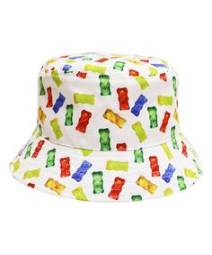 fb8dc40bff7 City Hunter USA White Gummy Bear America s Favorite Food Bucket Hat