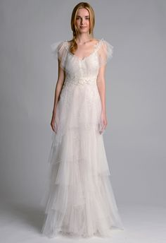 The new Marchesa wedding dresses have arrived! Take a look at what the latest Marchesa bridal collection has in store for newly engaged brides. Layered Wedding Dresses, Wedding Dresses 2014, Bridal Dresses, Wedding Gowns, Bridesmaid Dresses, Tulle Wedding, Bridal Gown, Marchesa Wedding Dress, Marchesa Bridal