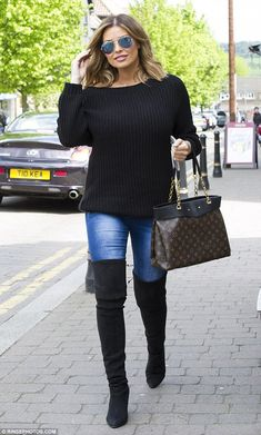 Leggy lady: Jessica Wright made the most of her long legs in a pair of suede thigh-high boots as she arrived at the launch party for Sandy Wood hair salon in Buckhurst Hill, Essex on Saturday