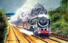 Image result for landscape with train with oil pastels