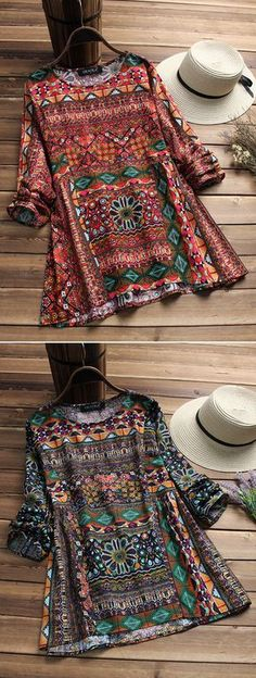 UP TO 45% OFF! Ethnic Geometric Print Long Sleeve Loose O-neck T-shirts For Women. SHOP NOW!