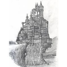 sketched castle ❤ liked on Polyvore featuring doodle, sketches, filler, drawings, art and scribble