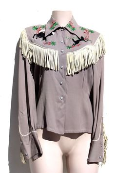 VINTAGE 1940's WOMEN's Fringed Embroidered Western Cowgirl Gabardine  SHIRT