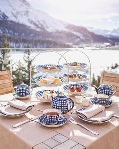 Afternoon tea with the view in St Moritz. The lake, Swiss alps and sunny temperatures warm enough to sit on the terrace to enjoy this delightful afternoon tea at Carlton St Moritz hotel. Switzerland Hotels, St Moritz, Swiss Alps, Winter Travel, Afternoon Tea, Sunnies, Terrace, Warm, Table Decorations