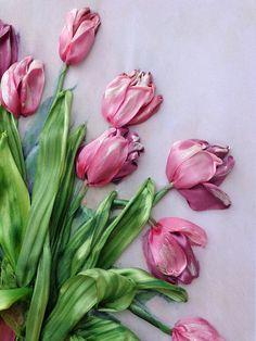 cuadro Tulipanes bordado de la cinta de seda.