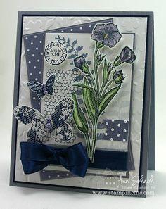 flower - wisteria and wasabi with blender pen, navy seam binding, navy butterflies,
