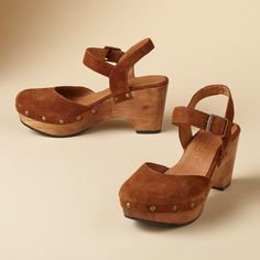 """ZORI SUEDE SANDALS--Let the all-day comfort of our padded, rocking sole put a little spring in your step. Supple suede with wooden sole. Imported. Euro whole sizes 36 to 41. 36 (US 6.25), 37 (US 7), 38 (US 7.25), 39 (US 8.5), 40 (US 9.25), 41 (US 10). 2-3/4"""" heel."""