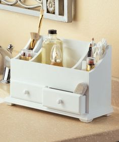 White, Wooden Beauty Make Up Jewelry Organizer w/ Compartments Drawers for Storage